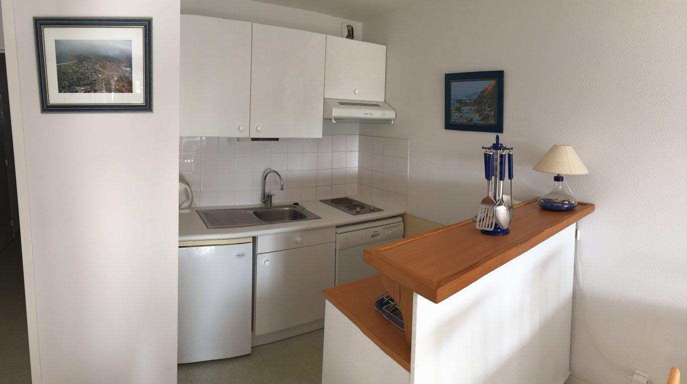 Appartement vacances avec piscine arzon le crouesty location 4 personnes jo l - Cuisine avec presqu ile ...